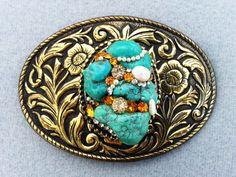 Turquoise belt buckle, Women's, Western buckle, Healing gemstone, Bling, Vintage rhinestones, Pearl, Boho, Free shipping