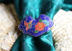 ENAMELED SCARF CLIP, Vintage , Sweet Cloisonne  Jewel Tones Butterfly/ Floral design, Victorian style,gold tone , textures, side opening by FrancieLouiseJelly on Etsy