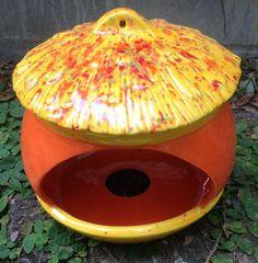 hand cast ceramic bird feeder acorn neon orange yellow by muddyme, $30.00