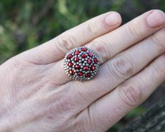 grey ring, statement ring, seed bead ring, adjustable ring, ring for her, beadwork, beadwoven jewelry, beaded ring, seed bead jewelry, ooak