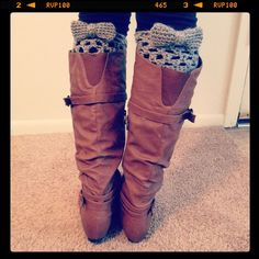 Crochet Boot Cuffs with bows - http://www.facebook.com/AlexsCrochetProjects?ref=hl