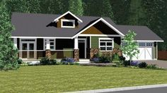 House Plan 90877 | Craftsman Traditional Plan with 1537 Sq. Ft., 2 Bedrooms, 2 Bathrooms, 2 Car Garage at family home plans