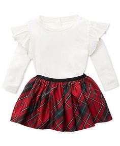 Ralph Lauren Ruffled-Shoulder Skirt & Plaid Pull-On Shirt, Baby Girls (0-24 months) - Sets & Outfits - Kids & Baby - Macy's