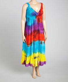 Another great find on #zulily! Blue & Red Tie-Dye Maxi Dress - Plus #zulilyfinds