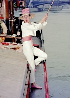Audrey Hepburn, on the Seine in Funny Face (1957)