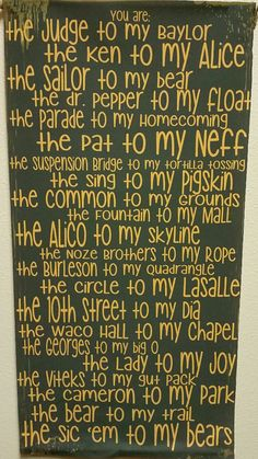 """You're the Judge to my Baylor..."" fabric wall art // This is just too perfect!"