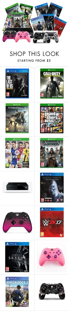 """""""Xbox 1 vs Ps4"""" by kitty-ma ❤ liked on Polyvore featuring Microsoft and Sony"""