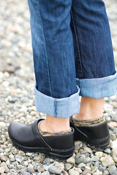 Danskos with boyfriend jeans - this pattern is $5 for the socks.... could be cool?