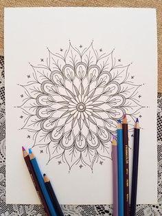 Mandala Coloring Page Black & White Mandala Drawing