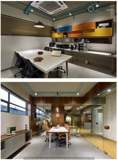 workspaces he pop-up colours and usage of lines in various forms, materials, and surfaces were the distinctive features of the project. Office Interior Design, Office Interiors, Office Workspace, Office Decor, Small Home Offices, Design Consultant, Commercial Interiors, Ceiling Design, Decoration
