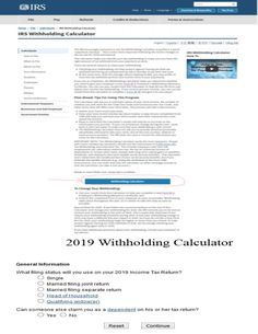 IRS Withholding Calculator ► Plan Ahead