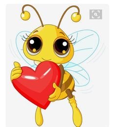 Royalty-Free (RF) Clip Art Illustration of a Cute Bee Holding A Honey Valentine Heart by Pushkin Bee Cartoon Images, Bumble Bee Cartoon, Bumble Bees, Bee Pictures, Bee Drawing, Cute Bee, Smileys, Bee Art, Bee Theme