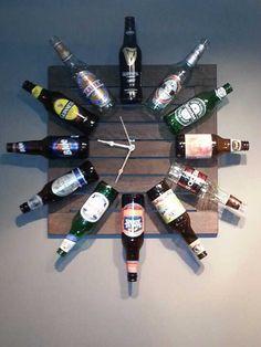 Relógio de garrafas de cerveja