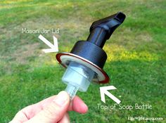 mason jar soap pump--Use the top of the bottle under the jar lid to attach the pump to the jar!!! GENIUS!