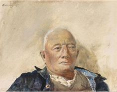 Head and shoulders of a man with tanned or olive complexion and white hair, wearing an open-neck white shirt, v-neck sweater, and blue jacket with light blue inner lap … Andrew Wyeth Art, Jamie Wyeth, Brandywine River, Chadds Ford, Favorite Subject, Amazing Paintings, Art Museum, Art Gallery, American