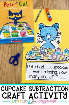Your kiddos will have fun practicing their subtraction along with Pete the Cat with this cupcake subtraction craft activity! Perfect whole group or literacy center activity! Students will be engaged while practicing their subtraction skills. #subtraction #kindergarten #firstgrade #petethecatmath #mathcenters