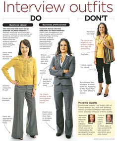 Great example of both formal and informal business attire appropriate for an interview.  P