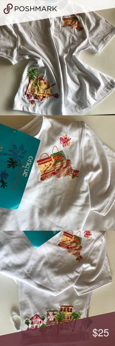 🆕 Onque Casuals Top - Cruise Ready! 🛳🌴🕶 Adorable Top with cute embroidered and beaded embellishments – at the top are little shopping bags and flowers, at the bottom postcards and palm tree! You're cruise-ready in this white cotton blend comfy short-sleeved shirt. Curved V-neck. Shirt is size small – check my closet for matching crop pants in size medium – they fit on the small side, hence the mismatch sizing. This listing for top only – pants listing coming soon – bundle to save! Onque…
