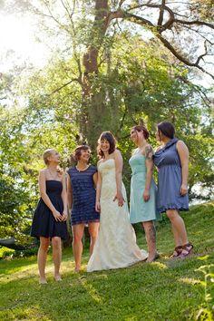 Multi-colored blue bridesmaids dresses (photo: Joie du Jour Photography)