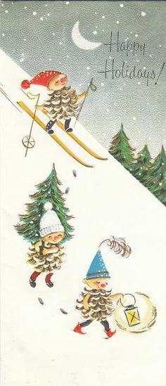 Vintage Pine Cone Elf card!   Flickr - Photo Sharing!