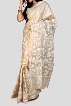 Beige Kantha Stitch Tussar Silk Saree - SAREES | Shop Online at Ethnickart India's Best Ethnic Weares & Wares