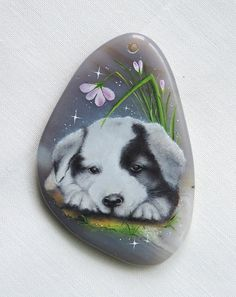 Original oil painting on agate pendant, oil painting necklace, puppy, dog