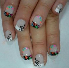 Uñas Funky Nail Designs, Shellac Nail Designs, Toe Nail Designs, Fall Nail Designs, Simple Nail Designs, Nail Manicure, Cruise Nails, Geometric Nail Art, Short Nails Art