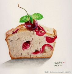 half s Cherry Muffin by Sunshine Cute Food, Yummy Food, Copic, Dessert Illustration, Watercolor Food, Food Painting, Food Icons, Painted Cakes, Weird Food