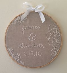 Embroidery wedding date wall art