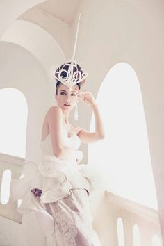 """Art and Fashion , Bremen w millinery """" The Bones of Crown """" hat for @davidfo  photographer , model by @reginasoosalu , make up by @cole0725 , hair by @ckayliow , outfit by fashion designer @nigelchia88 ."""