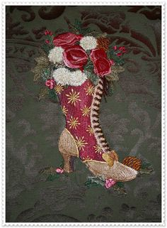 Machine Embroidered Quilt Block Christmas Victorian Boot. via Etsy.