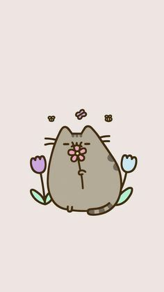 Flower pusheen so Kawaii Gato Pusheen, Pusheen Love, Cute Animal Drawings, Kawaii Drawings, Easy Drawings, Cat Wallpaper, Kawaii Wallpaper, Iphone Wallpaper, Summer Wallpaper