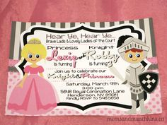 Princess & Knights Birthday Party - Themed in pink and black with great invites/decor...it's a possible avenue to take with Noah/Ariana