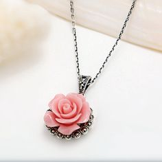 【Jewelry in My Box】Brilliant Sweety Pink Rose Thai Silver Women Art Necklace  http://www.jewelsin.com/p-brilliant-sweety-pink-rose-thai-silver-women-art-necklace-1216