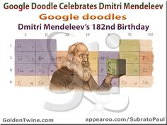 Did you miss out the latest Google doodle celebrating Dmitri Mendeleev's 182nd Birth Anniversary? If yes, check it out on GoldenTwine Blog:  Google Doodle Celebrates Dmitri Mendeleev | Google doodles Dmitri Mendeleev's 182nd birthday. http://www.goldentwine.com/blog/google-doodle-celebrates-dmitri-mendeleev  Comments on blog post would be highly appreciated and reciprocated. Thanks!