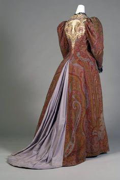 Split back bustle skirt gown gigot sleeves