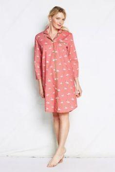 Women's+3/4-sleeve+Pattern+Poplin+Nightshirt+from+Lands'+End