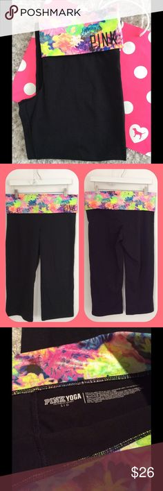 Victoria's Secret PINK Yoga Capris Beautiful irredecent material on the waistband that accentuates the colors and pattern.  PINK in black bling. Size large. Very minor if any fading.  Waist and inseam shown.  Great barely used condition. PINK Victoria's Secret Pants