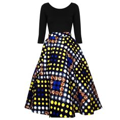 Chidera African Print Midi Circle Skirt (Navy/Yellow/Blue Polka Dots) ~African fashion, Ankara, kitenge, African women dresses, African prints, Braids, Nigerian wedding, Ghanaian fashion, African wedding ~DKK