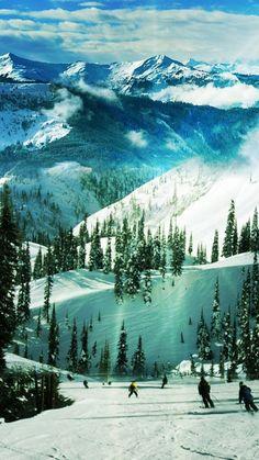 Ski Slope Paradise Winter Landscape iPhone 6 Plus HD Wallpaper