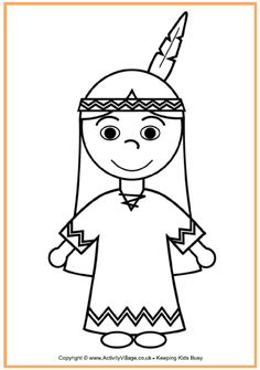 Native American Girl Coloring Page - Thanksgiving Coloring Pages for Kids