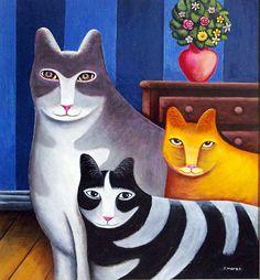 animales, gatos, naif, arte, pintura, cats