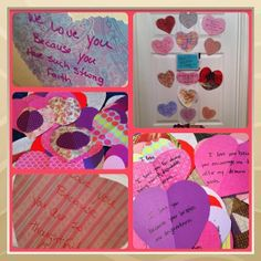 14 Day Countdown to Valentine's Day . . .  I cut hearts out of scrapbook paper (different sizes) and put the things that I love about the person on them. I did one for each member of my family.  I either taped them to their bathroom mirror or bedroom door.