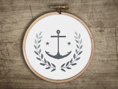 modern cross stitch pattern  retro anchor wreath leaf