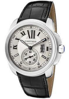 Cartier Calibre De Cartier Auto Light Silver Dial w/ Black Alligator Strap