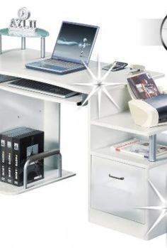 Six-Bros-S-202A732-Computer-desk-High-Gloss-White-MDF-Framework-White-0