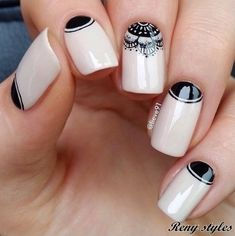 80 Winter Black And White Nail Art Designs - Box Fashions Gorgeous Nails, Love Nails, Pretty Nails, Black And White Nail Art, White Nails, White Manicure, Black White, White Nail Designs, Cool Nail Designs