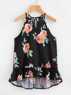 SheIn offers Keyhole Cut Frill Hem Random Florals Cami Top & more to fit your fashionable needs. Cute Summer Outfits, Cute Casual Outfits, Girl Outfits, Fashion Outfits, Blouse Styles, Blouse Designs, Western Tops, Cute Blouses, Cami Tops