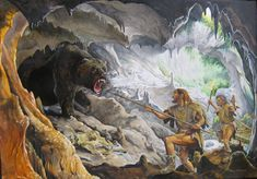 Mauro Cutrona - Two Neanderthals confront a Cave Bear