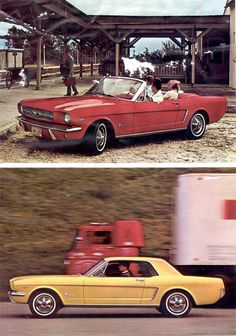 Last 2 of six Mustangs shown on a double page spread of the 1964 Ford Mustang promotional booklet. The lower car is a Sunlight Yellow hardtop. Classic Mustang, Ford Classic Cars, Classic Chevy Trucks, Muscle Cars, 65 Mustang, Ford Mustang 1964, Vintage Mustang, Pony Car, Car Ford